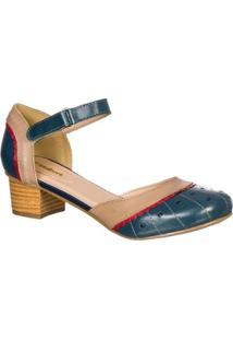 Sapato Feminino Boneca Retro Malbork Em Couro - Feminino-Azul+Bege
