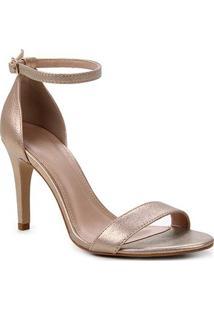 Sandália Couro Shoestock Salto Alto Basic Metalizada Feminina - Feminino-Rosa