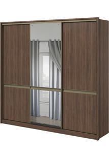 Guarda-Roupa Urban Com Espelho Central - 3 Portas - 100% Mdf - Imbuia Naturale Ou Imbuia Naturale Com Offwhite