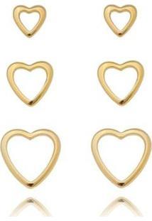 Kit De Brincos Trio Coração Vazado Ouro Lua Mia Joias - Semijoia Folheada A Ouro 18K Feminino - Feminino-Dourado