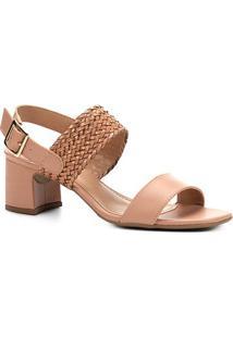 Sandália Shoestock Salto Bloco Tranças Feminina - Feminino-Rosa Claro