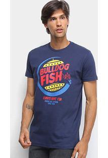 Camiseta Bulldog Fish Fast Food Masculina - Masculino-Marinho