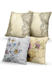 Kit 4 Capas De Almofadas Decorativas Own Flores E Arabescos 45X45 - Somente Capa