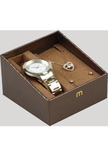 Kit De Relógio Analógico Mondaine Feminino + Colar + Brinco - 99231Lpmvde1Kb Dourado - Único
