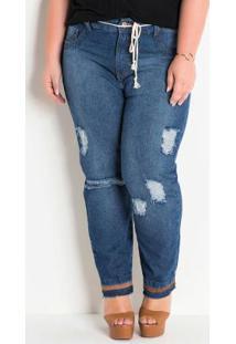 Calça Jeans Plus Size Com Cordão E Destroyed
