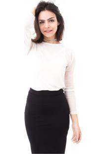Blusa Moda Vício Gola Careca Manga Longa Tule Poá Transparente Branca