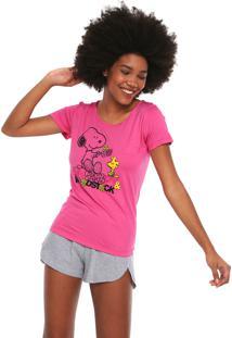 Short-Doll Snoopy Estampado Rosa/Cinza