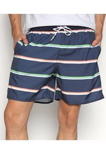 Shorts Praia Triton Beach Listrado Masculino - Masculino-Colorido