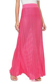 Saia Lanã§A Perfume Longa Tricot Pontos Vazados Pink/Lilã¡S - Rosa - Feminino - Dafiti