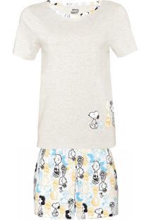 Conjunto De Pijama Estampado Feminino Em Manga Curta E Shorts Estampado - Peanuts