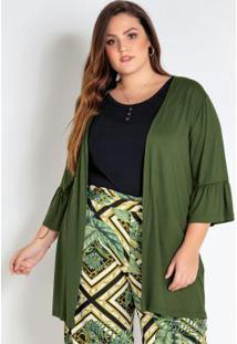 Kimono Plus Size Verde Com Babado Na Manga