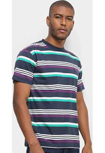 Camiseta Aleatory Fio Tinto Listras Bicolor Masculina - Masculino-Marinho+Verde