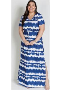 Vestido Longo Tie Dye Azul Com Mangas Plus Size