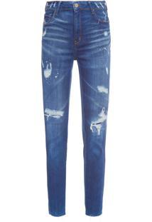 Calça Skinny Feminina Super Destroyed Gisele - Azul