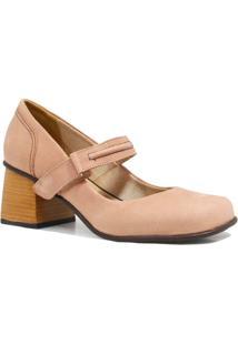 Sapato Zariff Shoes Scarpin Salto Velcro - Feminino-Nude