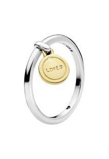 """Anel Medalha """"Loved""""- Prata & Dourado- Tamanho 54 = Pandora"""