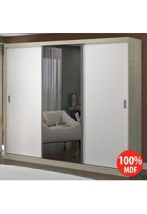 Guarda Roupa 3 Portas C 1 Espelho 100% Mdf 1903E1 Marfim Areia/Branco -Foscarini