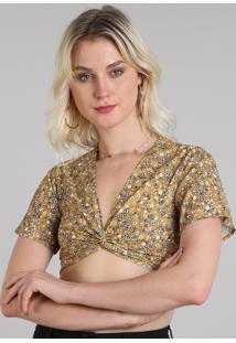 a7d5c80467 ... Blusa Feminina Cropped Estampada Floral Com Nó Manga Curta Decote V  Mostarda