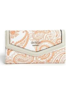 Carteira Guess Wonderful Printed Slim Wallet - Unissex-Branco