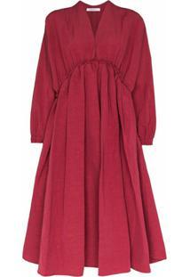 Nackiyé Vestido Midi Acinturado - Vermelho