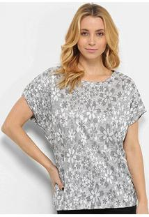 Blusa Pérola Flores Feminina - Feminino-Branco+Prata