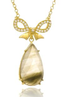 Colar Le Diamond Laã§O Com Pedra Natural Rutilo - Dourado - Feminino - Dafiti