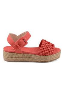 Anabela Flat Form Linho Total Coral Coral/39