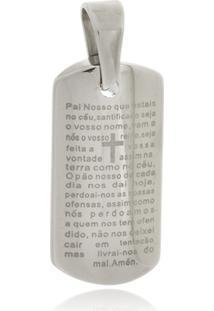 Pingente Boca Santa Semijoias Oração Pai Nosso Em Aço Inox