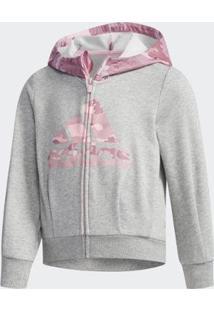 Blusa Infantil Adidas Capuz Fitted - Feminino-Cinza