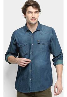 Camisa Jeans Manga Longa Gajang Rock Port Masculina - Masculino-Azul