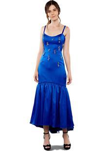 Vestido Maxi Midi Em Cetim Bordados Em Chatons Azul