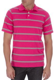 Camisa Polo Masculina Rosa Listrada - G