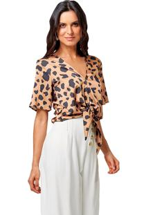 Blusa Mx Fashion Animal Print Avah Caramelo