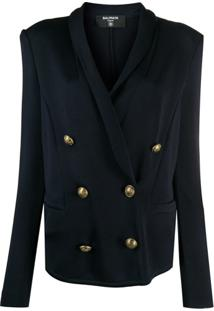 Balmain Embossed Buttons Double-Breasted Blazer - Azul