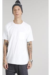 Camiseta Masculina Com Bolso Manga Curta Gola Careca Branca