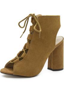 Sandália Shoes Inbox Abotinada Lace Salto Bloco Caramelo