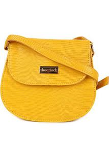 Bolsa Shoestock Transversal Lezard Mini Bag Feminina - Feminino-Amarelo