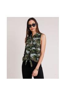 Camisa Feminina Estampado Camuflado Com Bolso E Nó Sem Manga Verde Militar