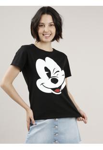 Blusa Feminina Mickey Manga Curta Decote Redondo Preta