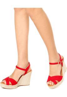 Sandália Fiveblu Anabela Vermelha