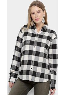 Camisa Xadrez Colcci Feminina - Feminino-Preto