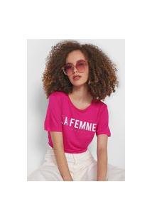 Camiseta Colcci La Femme Rosa