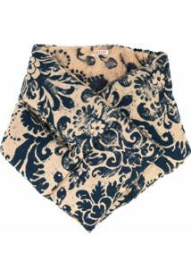 Kapital Cachecol Texturizado Com Estampa Floral - Marrom