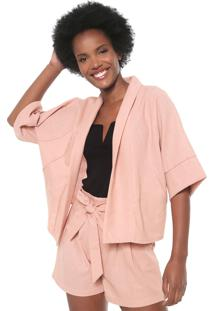 Kimono Chata De Galocha Para Dafiti Recortes Rosa
