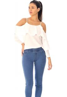 Blusa Sisal Jeans Alça Manga Longa Branca