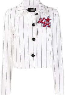 Love Moschino Striped Cropped Jacket - Branco