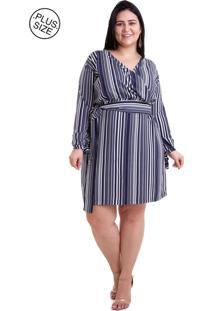 4ed6ccbc2 ... Vestido Pradiva Plus Size Manga Longa Azul