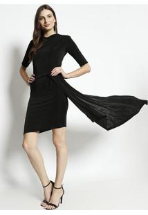 Vestido Liso Com Recorte Assimã©Trico- Pretoenna