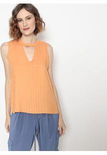 Blusa Com Vazados- Laranja Claro- Wool Linewool Line
