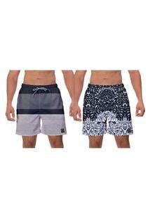 Kit 2 Shorts Moda Praia Folhas Pretas E Brancas Cinza Masculino Ajustável Caminhada Esporte Banho W2